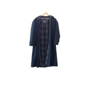Authentic Burberrys Made in England Car Coat full-length navy plaid lined 8390